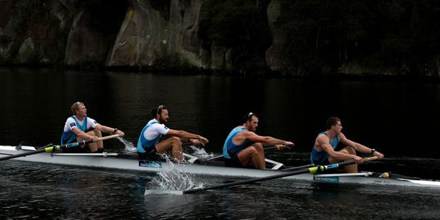 The Kiwi coxless four, Anthony Allen, Patrick McInnes, Axel Dickinson and Drikus Conradie. Photo / Brett Phibbs