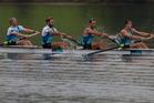 New Zealand Rowing Men's Coxless Four - Anthony Allen, Patrick McInnes, Axel Dickinson and Drikus Conradie. Photo / Brett Phibbs