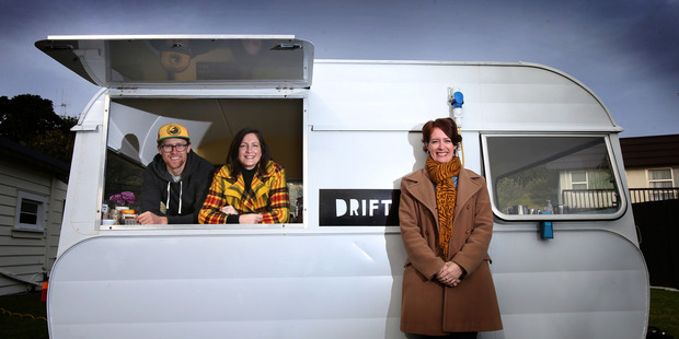Siblings (from left) Drift Coffee Caravan owner Vinnie Murphy, Murphy's Holiday Camp owner Beck Salter, and Networking Queen director Carmel Murphy, have moved back to the Bay. Photo/John Borren
