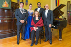 The Lexus Song Quest finalists are (from left): Filipe Manu, Madison Nonoa, Benson Wilson and Tavis Gravatt pictured with international judge Yvonne Kenny.