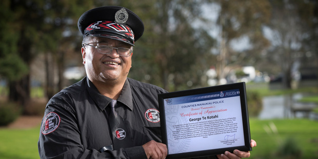 Loading George Te Kotahi, a Maori Warden has received an award from NZ Police for helping a man who was shot at Papakura train station in March. Photo / Nick Reed