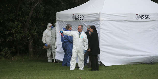 The scene where a decomposing body was found today in Okahu Bay, Auckland. Photo / Doug Sherring