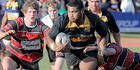 Border prop Tietie Tuimauga had a massive game in the Premier final on Saturday, followed here by Taihape's Hamish Bennett and team mate Cole Baldwin.