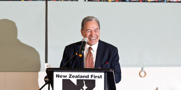 Winston Peters speaks at the New Zraland Frist 23rd birthday celebrations in Tauranga. Photo/Andrew Warner