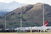 Plane on the tarmac at Queenstown Airport after a bomb scare there today. Photo / James Allan