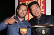 NZ Bakels Supreme Pie Awards at SkyCity. L to R. Mark Southon and Supreme Pie Winner, Patrick Lam Tuesday 26th July 2016. Herald on Sunday . Photograph By Norrie Montgomery