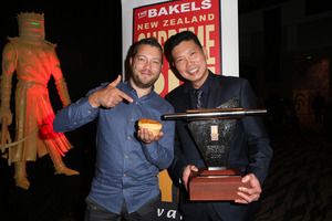 NZ Bakels Supreme Pie Awards at SkyCity. Mark Southon and Supreme Pie Winner, Patrick Lam. Photo / Norrie Montgomery
