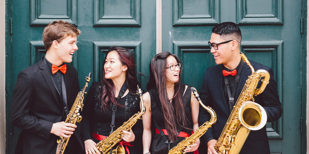 Mark Holdaway, Rachel Liao, Alena le Ngoc, and Mahlon Moevao are members of the saxophone quartet Papricca.