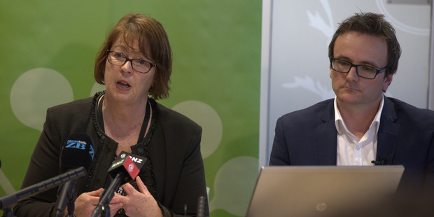 Auckland City Council representatives Penny Pirrit and John Duguid speak to media on the release of new housing plans for Auckland and Rural Auckland. Photo / Nick Reed