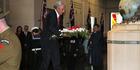 Tongan Prime Minister Samuela 'Akilisi Pohiva lays a wreath at the Auckland War Memorial Museum today. Photo / Doug Sherring