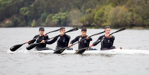 WORLD STAGE: The NZ under-23 men's K4, featuring Bay of Plenty paddlers Tim Waller (left) and Taris Harker (second from right).  Photo/Jamie Troughton/Dscribe Media 290716sp20BOP