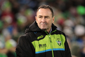 Raiders coach Ricky Stuart watches on during the round 12 NRL match between the Canberra Raiders and the Canterbury Bulldogs. Photo / Getty Images.