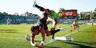Manu Vatuvei of the Warriors dives to score a try during the round 20 NRL match between the Canberra Raiders and the New Zealand Warriors at GIO Stadium. Photo / Getty Images.