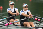 Julia Edward and Sophie Mackenzie, from right, from New Zealand compete at the Lightweight Women's Double Sculls Final race at the Rowing World Cup. Photo / AP