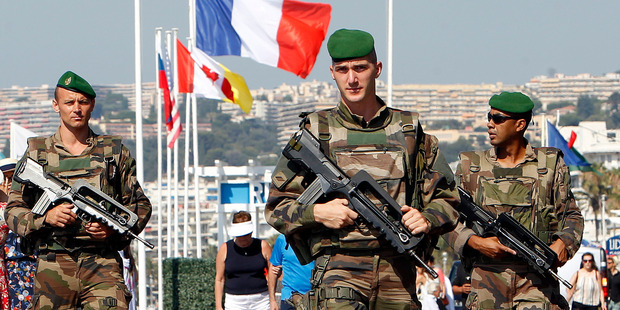Soldiers patrol the Promenade des Anglais in Nice, southern France. Photo/AP