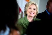 Democratic presidential candidate Hillary Clinton smiles while attending a roundtable with Orlando Mayor Buddy Dyer and community leaders at the Holden Heights Community Center in Orlando. Photo / AP