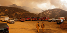Fire trucks and horse trailers outside Wildlife Waystation in Santa Clarita, California as a wildfire swept through the area. Photo / AP