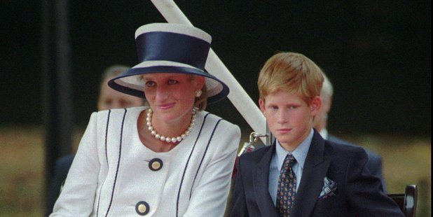 Loading In 1995 Princess Diana, left, sits next to her younger son Prince Harry. Photo / AP