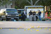 Yellow evidence markers litter the scene of a deadly shooting outside of Club Blu in Fort Myers, Florida. Photo / AP