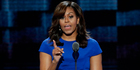 First Lady Michelle Obama speaks during the first day of the Democratic National Convention in Philadelphia. Photo / AP