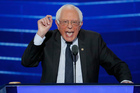 Former Democratic presidential candidate, Sen. Bernie Sanders speaks during the first day of the Democratic National Convention. Photo / AP