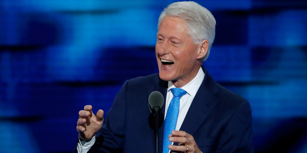 Loading Former President Bill Clinton speaks during the second day of the Democratic National Convention in Philadelphia. Photo / AP
