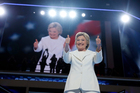 Democratic presidential nominee Hillary Clinton gives her thumbs up as she appears on stage during the final day of the Democratic National Convention. Photo / AP