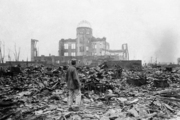 The rubble in Hiroshima in 1945, a month after the first atomic bomb was ever used in warfare. Photo / File