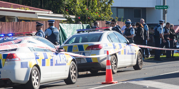 The police cordon at the scene of the shooting. Photo / Jason Oxenham
