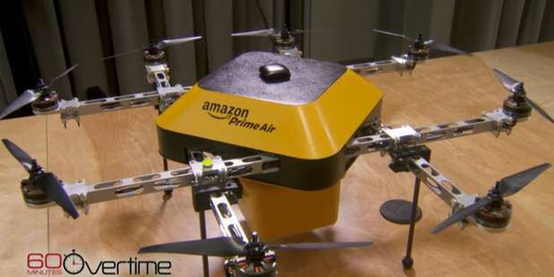 The agreement will see Amazon move a step closer to Jeff Bezos's dream of fleets of drones delivering small packages directly to shoppers within 30 minutes. Photo / AP