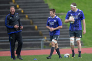 All Blacks Richie McCaw, Brodie Retallick and Mick Byrne (left) during an All Blacks training at Trusts Stadium. Photo / Nick Reed.