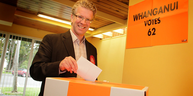 Labour candidate Hamish McDouall on the first day of advance voting in 2014. Photo/ Bevan Conley