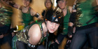 READY FOR THE FIGHT: Mount Militia Roller Derby Crew member Esther Smith is backed by her team. Photo/Andrew WArner