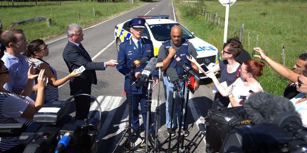 Police Commissioner Superintendent Mike Bush fronts media along with Taupo police area commander Warwick Morehu. Photo / Nick Reed