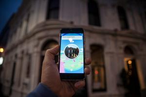 A Pokestop at The Empire Tavern. Pokemon Go smartphone app game. Photo/Michael Craig.