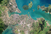 Auckland's Waitemata Harbour and the Hauraki Gulf. Photo / planet.com