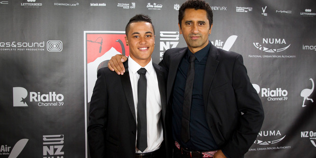 Rolleston, left, and Cliff Curtis on the red carpet for the New Zealand Film awards in 2014. Photo / Jason Oxenham