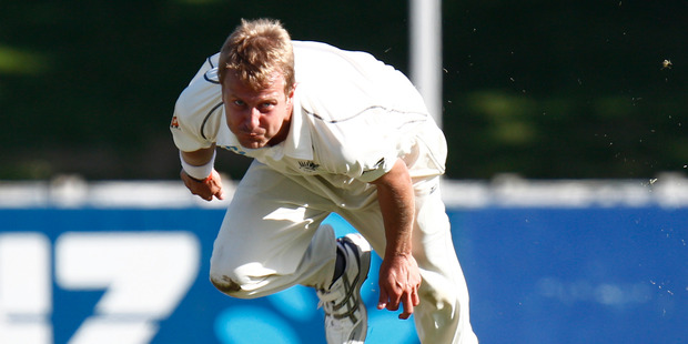 New Zealand bowler Neil Wagner in action against India. Photo / Mark Mitchell