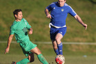 Otumoetai player Juan Pablo Rosende, left. Rotorua United (blue) vs Otumoetai, club football at Neil Hunt Park. 16 July 2016 Rotorua Daily Post Photograph by Ben Fraser.