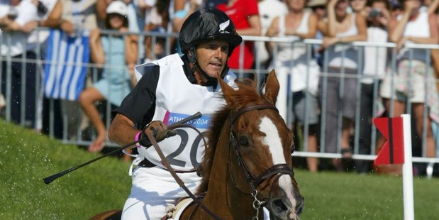 Blyth Tait and his best-known mount Ready Teddy, pictured at the Athens Olympics in 2004, restored New Zealand's place at the top of the eventing world with gold in Atlanta. Photo / Mark Mitchell