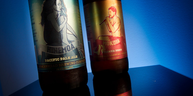 Birkenhead Brewing Company's Hinemoa Pacific Pale Ale (left) and Mokoia Pilsner. The beer labels caused a storm of controversy last week.