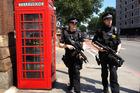 Armed Metropolitan Police patrol the street outside the St Pancras train station. Photo / File