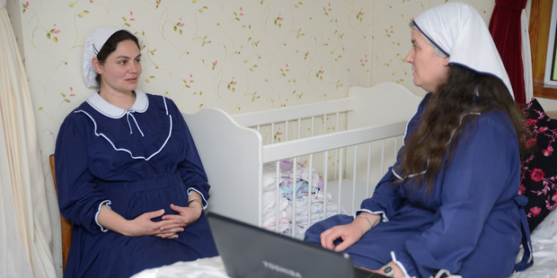 Angel Benjamin gets a checkup with Sheryl-Joy, the midwife from TVNZ documentary Gloriavale: A Woman's Place.