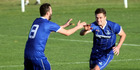 Tom Biss (right) was the difference in the first half against Miramar with a deft 39th minute goal from a long ball in Napier today.