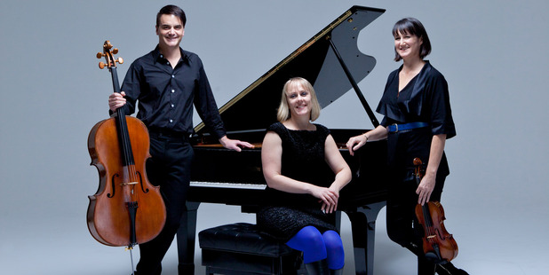NZTrio, from left to right, Ashley Brown (cellist), Sarah Henderson (pianist) and Justine Cormack (violinist).