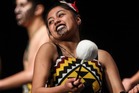 Beyonce Kahui, of Taiohi Tataki (Massey High School), performing in Te Haaro o Te Kaahu, the National Secondary Schools Kapa Haka Festival, at the Pettigrew-Green Arena in Taradale yesterday. Photo / Paul Taylor