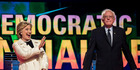 Democratic presidential candidates Hillary Clinton and Bernie Sanders appear on stage just before a CNN-sponsored debate in Brooklyn in April. Photo / Melina Mara, The Washington Post