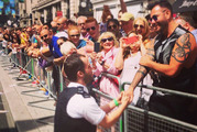 Moment police officer broke ranks in London Pride parade to propose to Kiwi boyfriend. Photo / Supplied