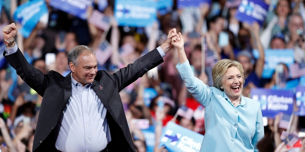 Democratic nominee-in-waiting Hillary Clinton with her new running-mate Senator Tim Kaine in Miami. Photo / AP
