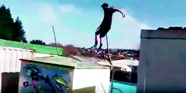 HARNESSING FEAR: One of the young Northland men who pull off risky feats in an online video says parkour is about harnessing the fear. IMAGE/SUPPLIED